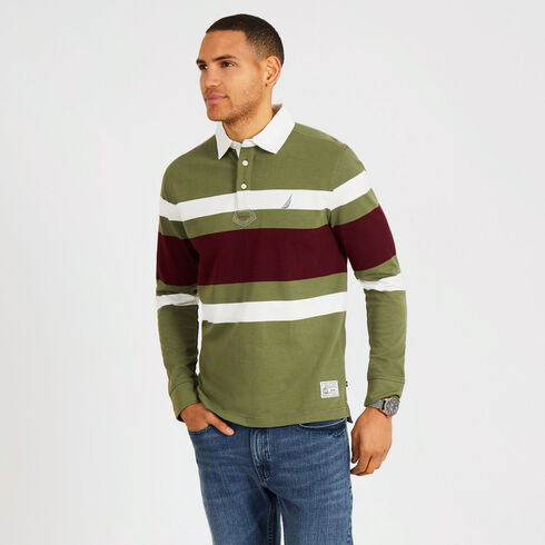 Rugby Stripe Classic Fit Long Sleeve Shipman Polo - Everglades Green