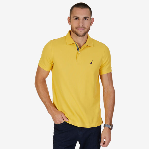 Short Sleeve Slim Fit Performance Tech Polo Shirt - Mustard Field