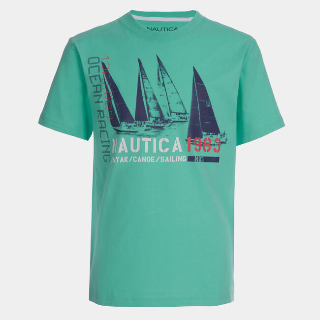 LITTLE BOYS' OCEAN RACING GRAPHIC T-SHIRT (4-7),Mint Spring,large