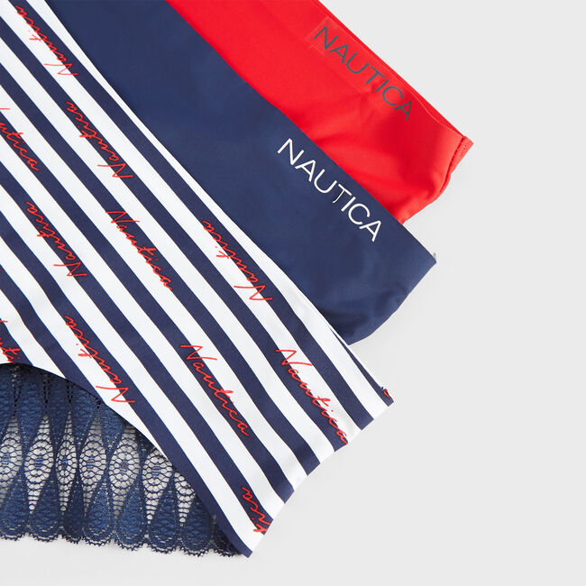 STRIPE LOGO BRIEFS, 3-PACK,Nautica Red,large