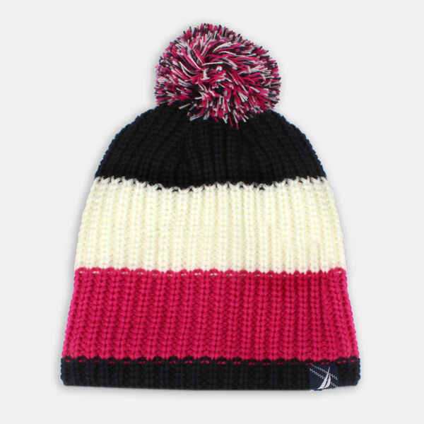 GIRLS' COLORBLOCK POM-POM BEANIE - Crystal Bay Blue
