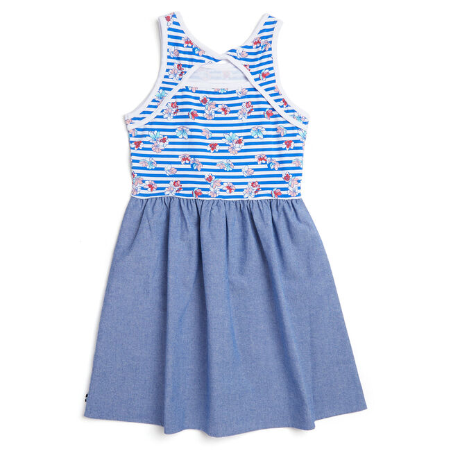 Little Girls' Striped + Floral Chambray Skirt Dress (4-6X),Classic Blue,large