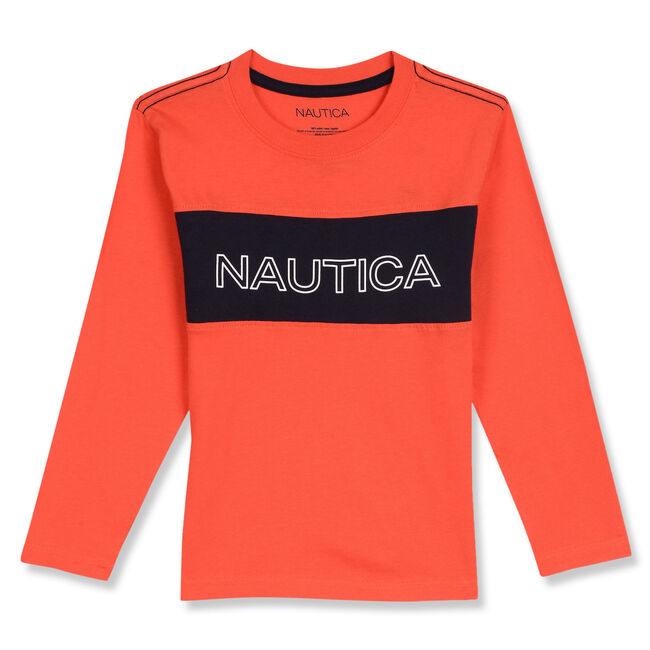 Toddler Boys' Miles Nautica Long Sleeve Tee (2T-4T),Orange Glade,large