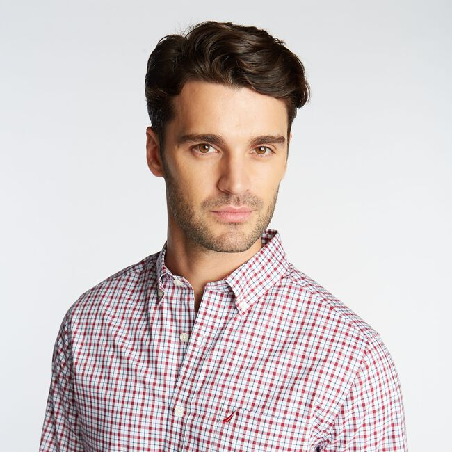 CLASSIC FIT WRINKLE RESISTANT SHIRT IN MINI PLAID,Nautica Red,large
