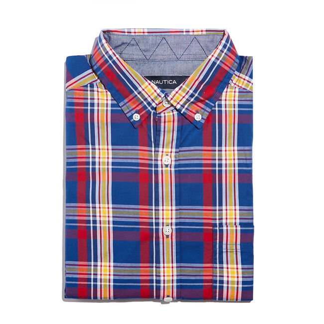 CLASSIC FIT POPLIN SHIRT IN MULTI COLOR PLAID,Limoges,large