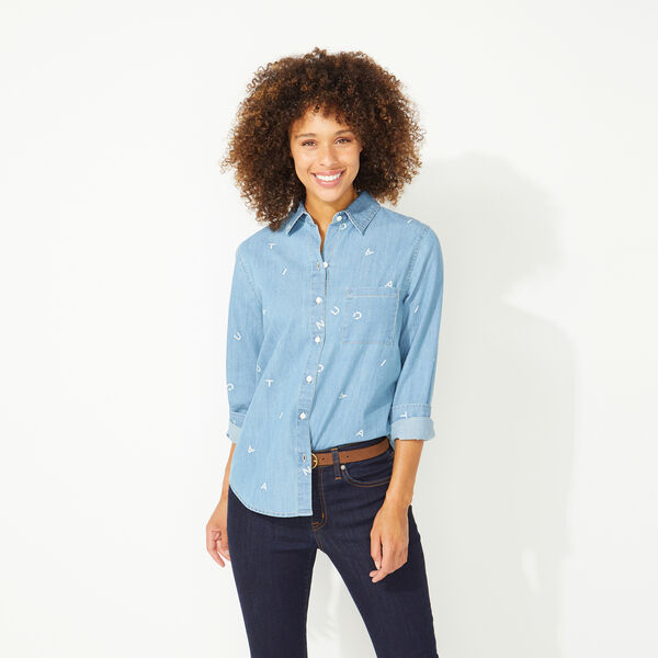 NAUTICA JEANS CO. LETTER PRINT BOYFRIEND SHIRT - Aquadream