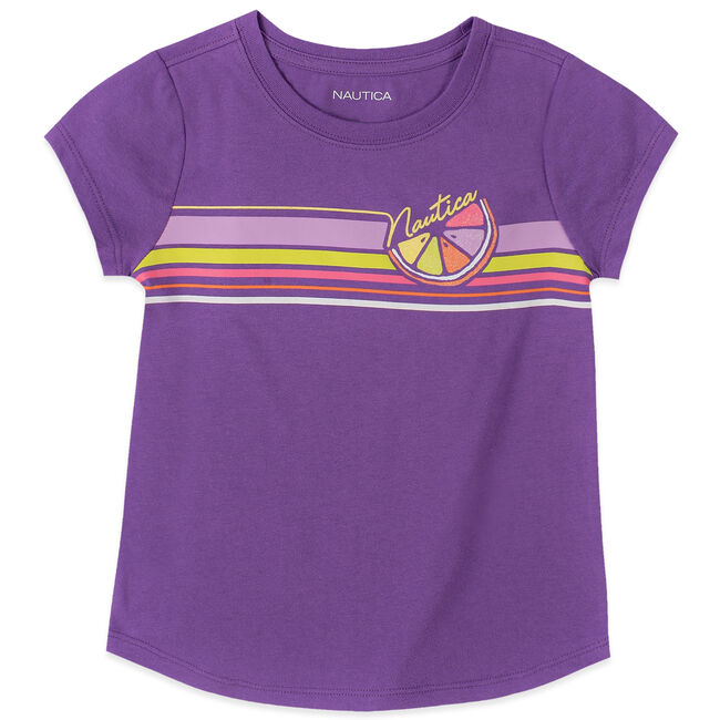 TODDLER GIRLS' LOGO STRIPE TEE (2T-4T),Amethyst,large
