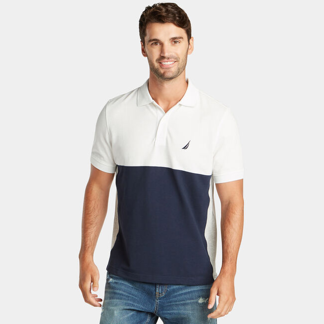 CLASSIC FIT PERFORMANCE MESH COLORBLOCK POLO,Sail White,large