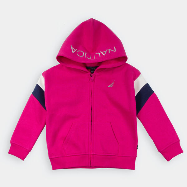 GIRLS' LOGO FLEECE FULL-ZIP HOODIE (8-20) - Lure Red