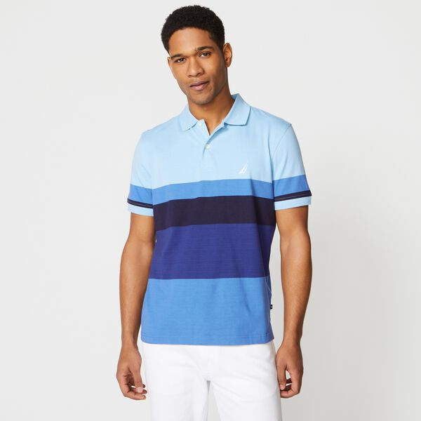 PREMIUM COTTON COLORBLOCK STRIPE POLO - Gulfcoast Blue Heather