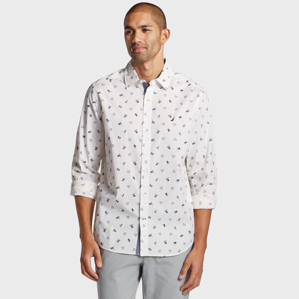 Big & Tall Flag Print Classic Fit Shirt - Bright White