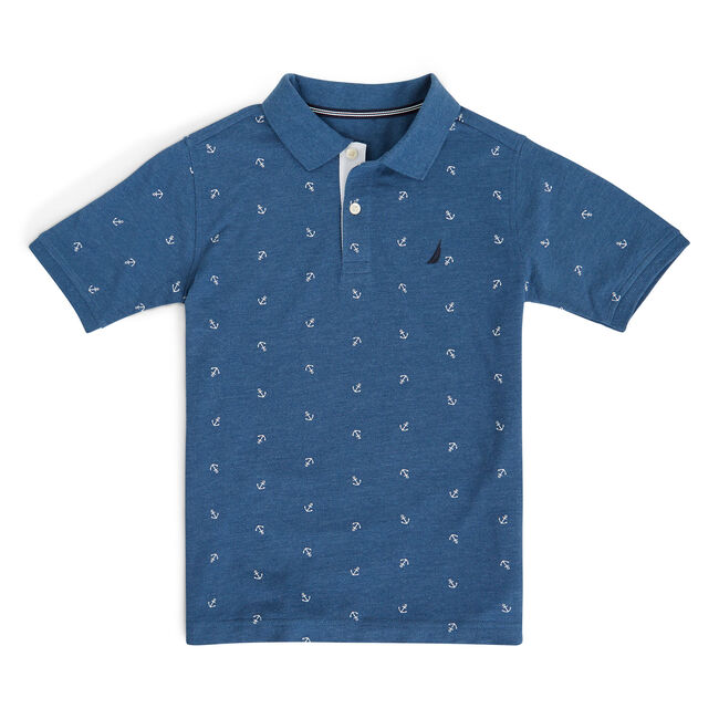 Little Boys' Ericson Anchor Motif Polo Shirt (4-7),Noon Blue,large
