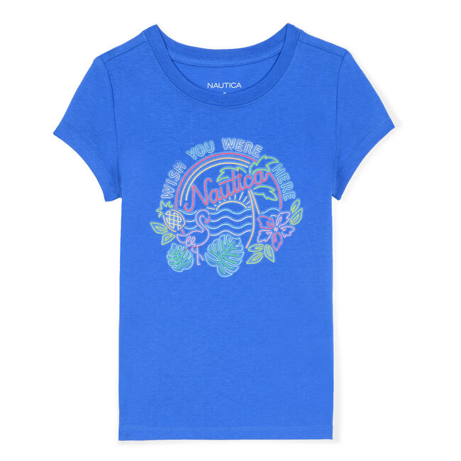 Girls' Wish You Were Here Graphic Tee,Angel Blue,large