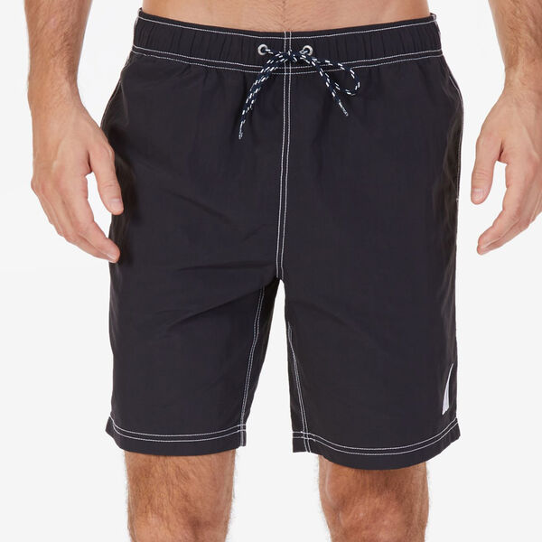 Big & Tall Anchor Full-Elastic Swim Trunks - True Black
