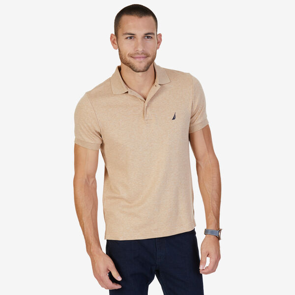 Slim Fit Solid Interlock Cotton Polo - Camel Heather
