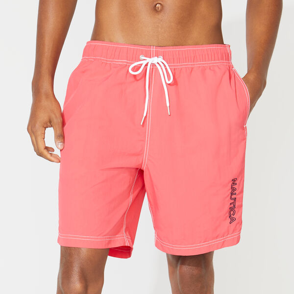 "8"" SOLID EMBROIDERED LOGO SWIM TRUNKS - Melonberry"