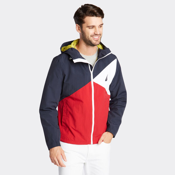 LIGHTWEIGHT JACKET IN COLORBLOCK - Navy