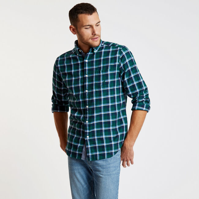 Long Sleeve Twill Plaid Classic Fit Shirt,Cosmic Fern,large