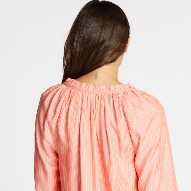 LONG SLEEVE RAGLAN SOFT TWILL STRIPED TOP,Livng Coral,large