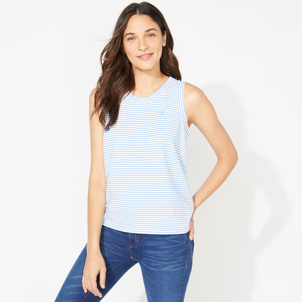 NAUTICA JEANS CO. TIE BACK STRIPED TOP - Alaskan Blue