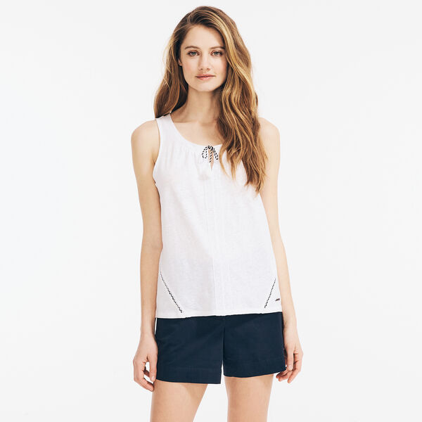 LACE-TRIMMED LINEN SLEEVELESS TOP - Bright White