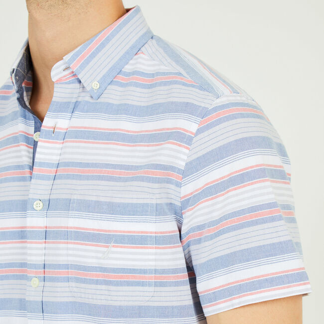 Striped Classic Fit Short Sleeve Button Down,Mist Grey,large