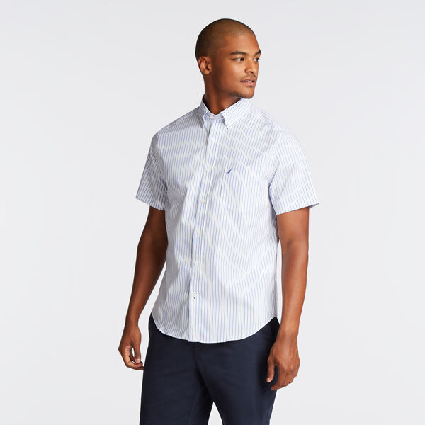 Wrinkle-Resistant Short Sleeve Classic Fit Shirt in Stripe - Rolling River Wash