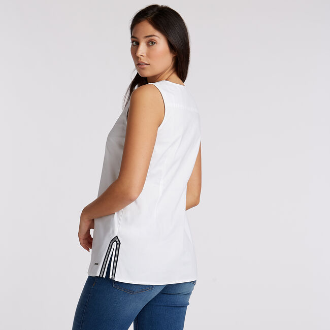 Sleeveless Woven Top,Bright White,large