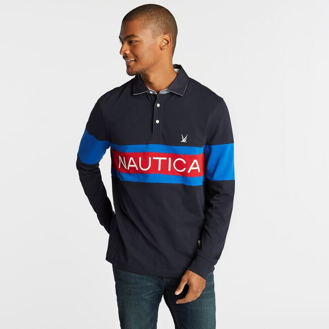 CLASSIC FIT COLORBLOCK LONG SLEEVE RUGBY,Navy,large