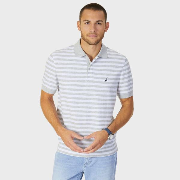 Classic Fit Performance Striped Polo - Grey Heather