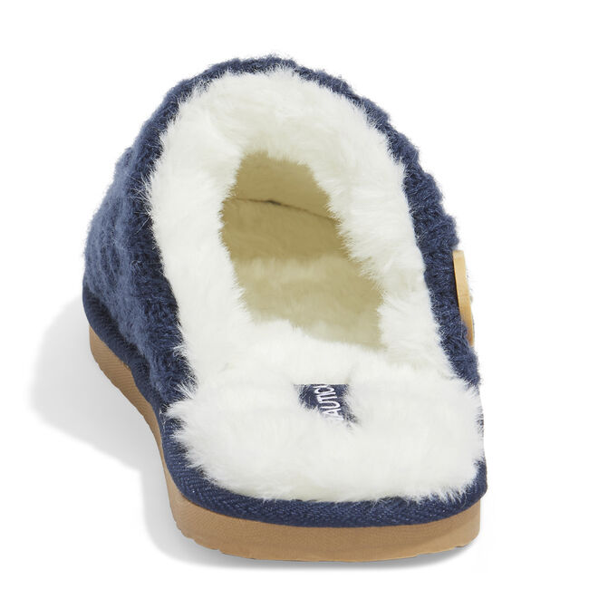 TERRA CABLE KNIT SLIPPERS IN NAVY,Navy,large