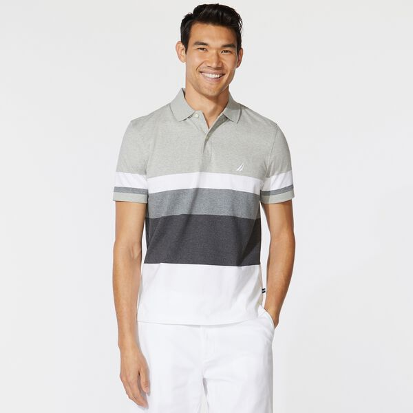 PREMIUM COTTON COLORBLOCK STRIPE POLO - Grey Heather