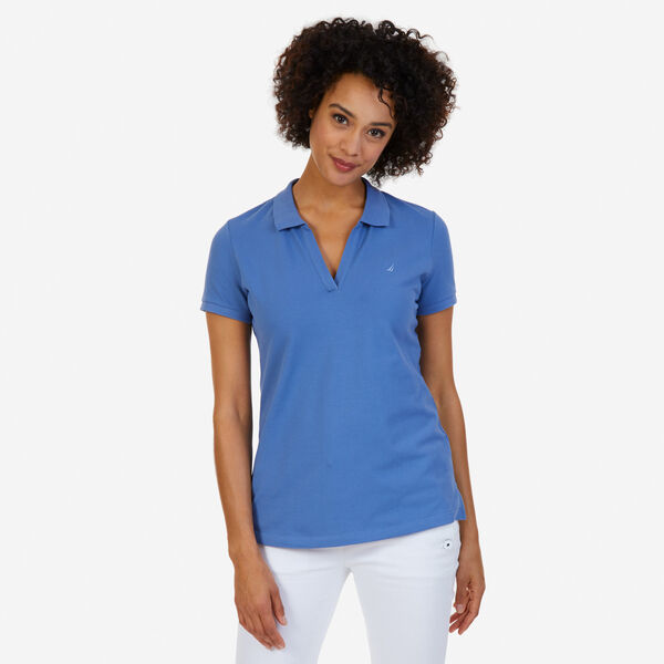 Split-Neck Classic Fit Polo Shirt - Delphinium Blue