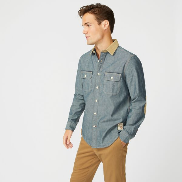 DENIM ELBOW PATCH SHIRT - Navy