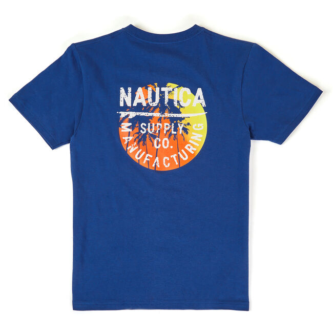 Boys' Terry Tropical Graphic Tee (8-20),Navy,large
