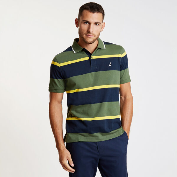 Striped Classic Fit Short Sleeve Polo - Green Glow