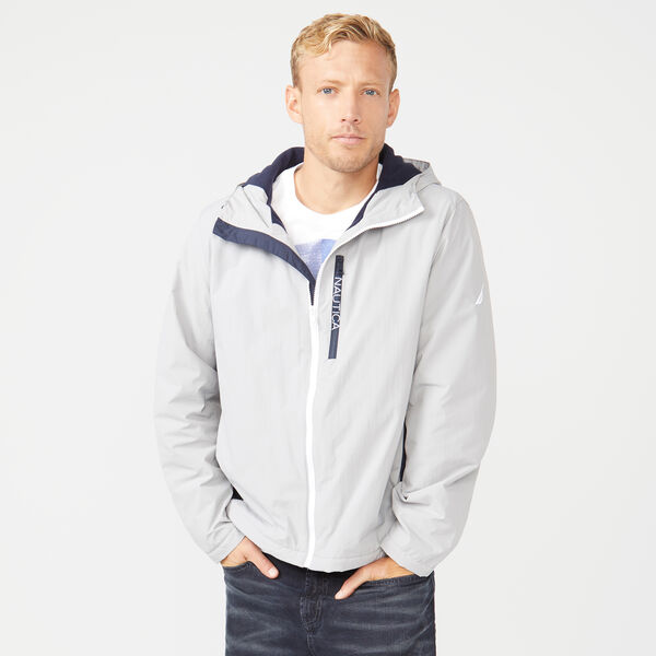 FLEECE LINED HOODED JACKET - Grey Alloy