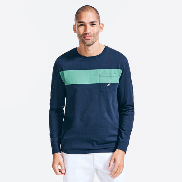 CHEST STRIPE POCKET LONG SLEEVE T-SHIRT - Navy