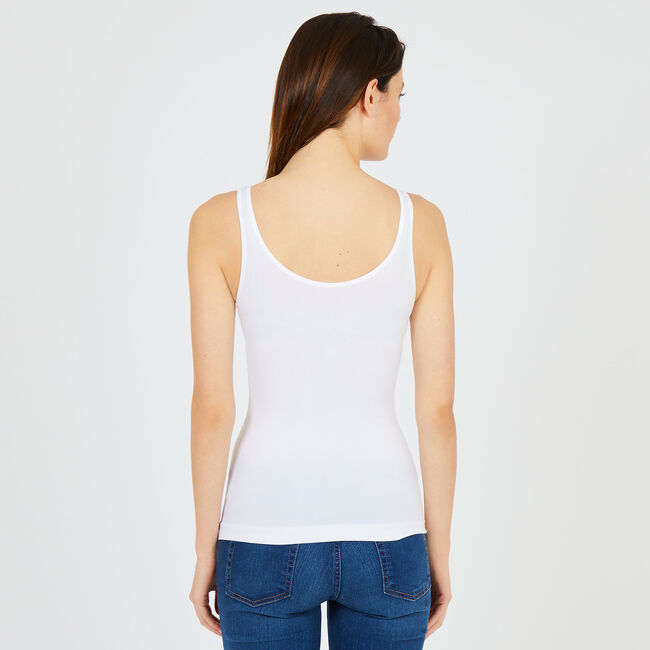 Reversible Neckline Tank Top,Bright White,large