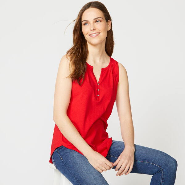BUTTON-FRONT SLEEVELESS KNIT TOP - Tomales Red