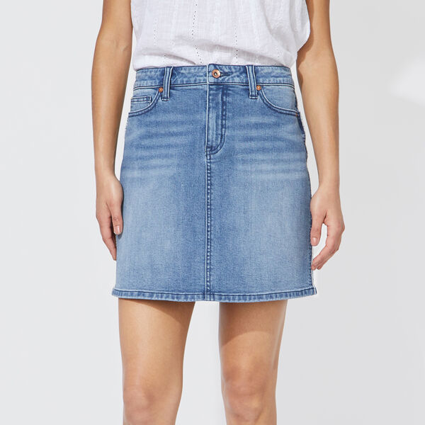 NAUTICA JEANS CO. FRAYED DENIM SKIRT - Ocean Blue