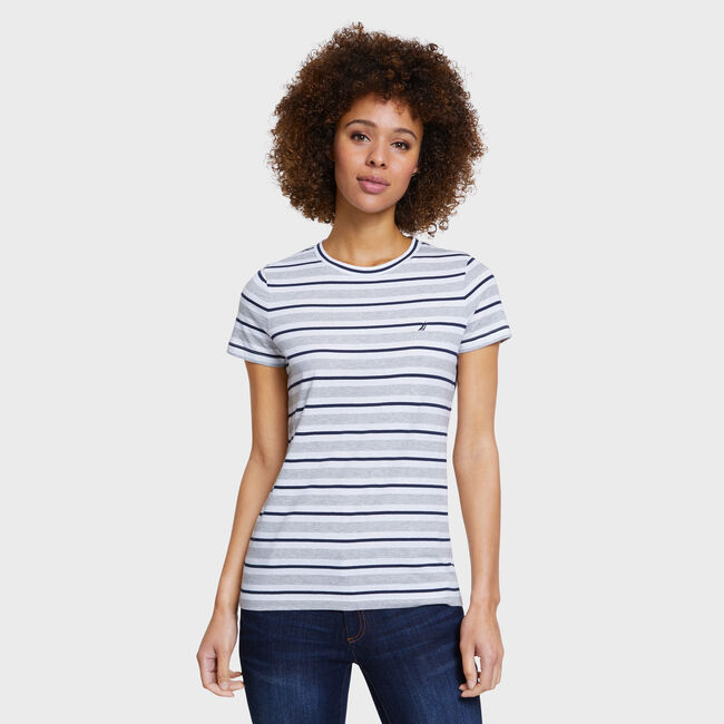 Stripe Short Sleeve Jersey Tee,Fog,large
