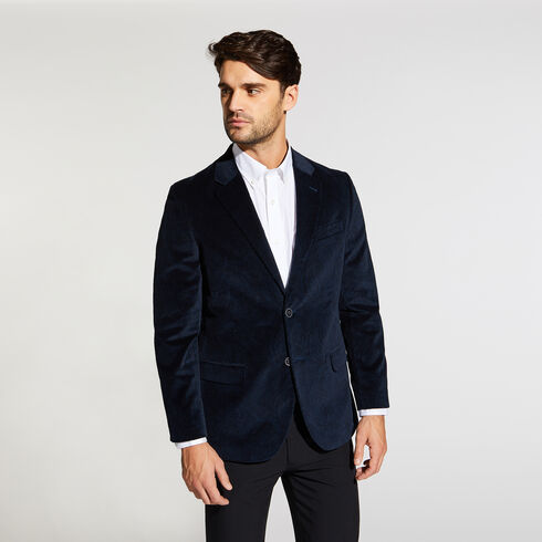 BRANFORD PAISLEY VELVET BLAZER IN BLACK - Tugboat Blue
