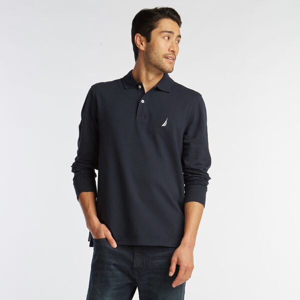 CLASSIC FIT LONG SLEEVE MESH POLO - Navy