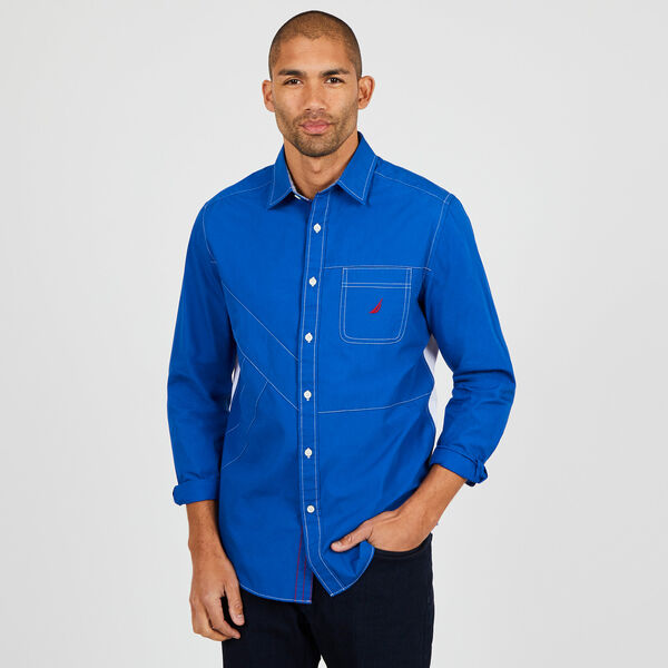 Colorblock Classic Fit Long Sleeve Button Down - J Navy