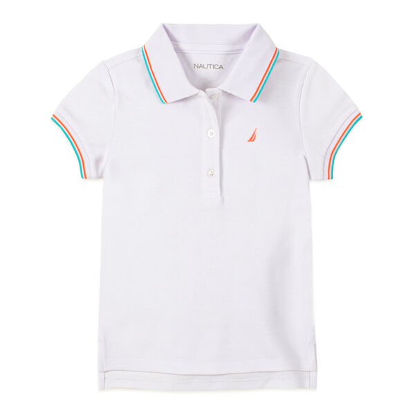 LITTLE GIRLS' CONTRAST TRIM POLO (4-7) - Antique White Wash
