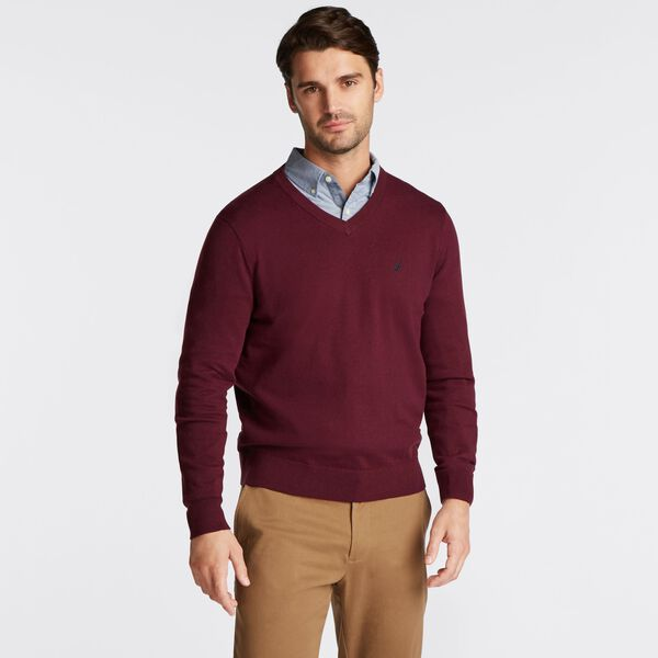 BIG & TALL V-NECK NAVTECH SWEATER - Royal Burgundy