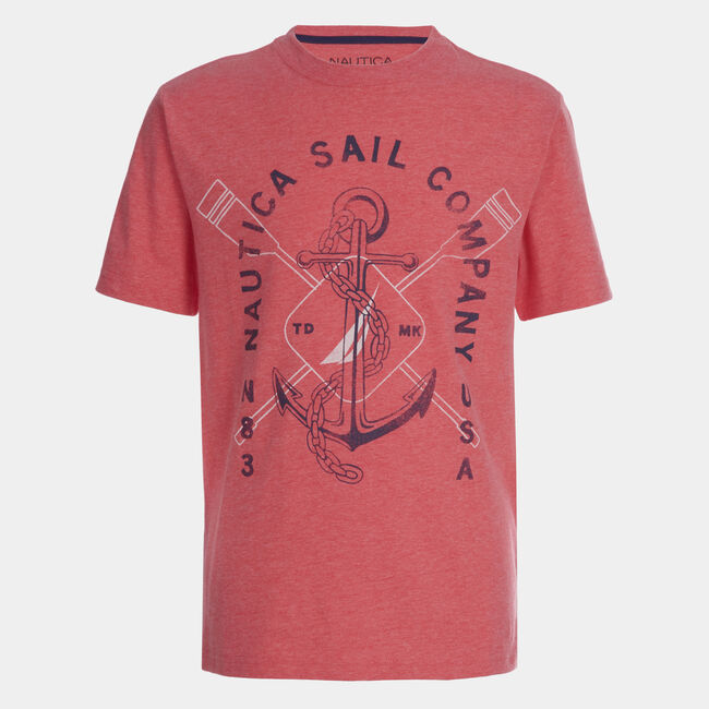LITTLE BOYS' NAUTICA SAIL COMPANY GRAPHIC T-SHIRT (4-7),Persian Red,large