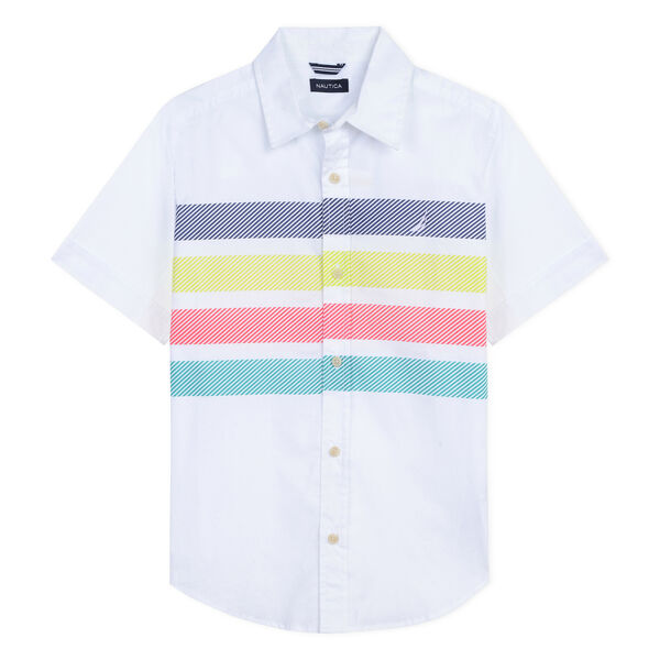 Boys' Richard Short Sleeve Poplin Shirt in Stripe (8-20) - White