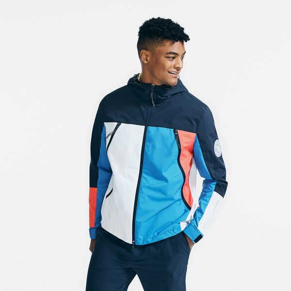 COLORBLOCK HOODED JACKET - Navy